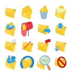Mail icons set cartoon style vector image