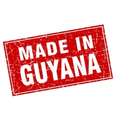 Guyana red square grunge made in stamp vector