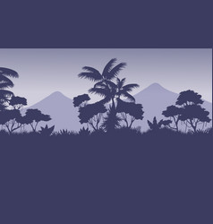Beauty landscape mountain with jungle silhouettes vector