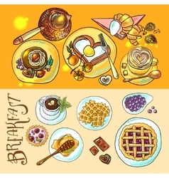 breakfast top wiew vector image