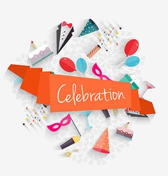 Celebration background with ribbon and party vector