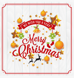 christmas and happy new year with typography vector image vector image