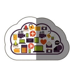 Color sticker with cloud service and apps set vector