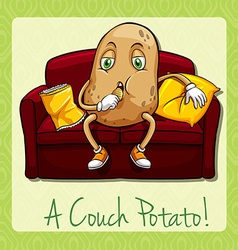 Couch potato idiom concept vector image