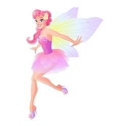 Cute flying fairy in pink flower dress with vector image vector image