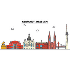 Germany dresden city skyline architecture vector