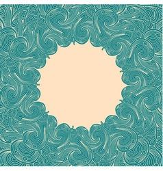 Green blue engraving round frame vector