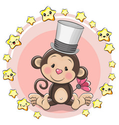 greeting card monkey with stars vector image