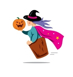 Halloween witch with pumpkin cartoon vector
