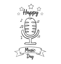 Hand draw music day celebration vector
