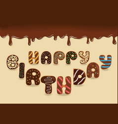 happy birthday chocolate donuts vector image