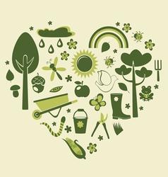 Heart gardening vector