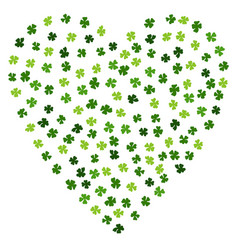 Heart shaped irish background made of clover laef vector