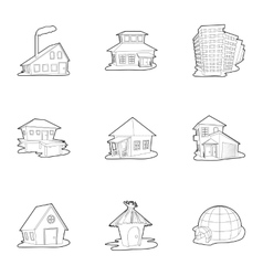 Housing icons set outline style vector image