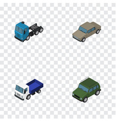 Isometric car set of armored lorry truck and vector