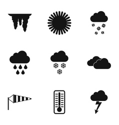 Kinds of weather icons set simple style vector