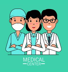 Medical center professional team cartoon vector