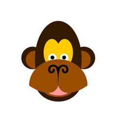 Monkey face isolated chimpanzee head on white vector