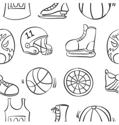 pattern sport equipment hand draw vector image vector image
