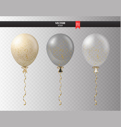 Realistic transparent helium set of balloons with vector