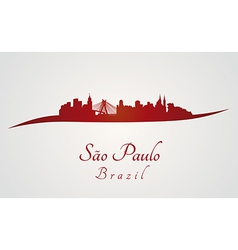 Sao paulo skyline in red vector
