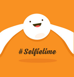 selfie time the white smiley smiling and makes vector image