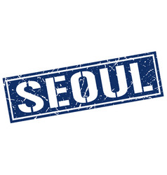 Seoul blue square stamp vector