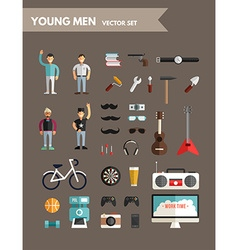 Set of flat design infographic elements young mens vector