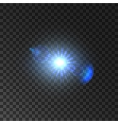 Shining light of star with lens flare effect vector image