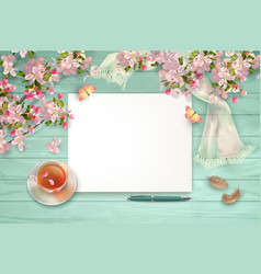 Spring top view background vector