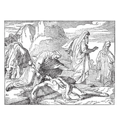 The priest and levite passing by the wounded man vector