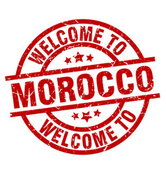 Welcome to morocco red stamp vector