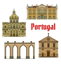Historic buildings and sightseeings of portugal vector