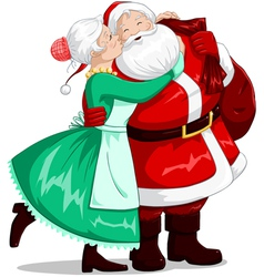 Mrs claus kisses santa on cheek and hugs vector