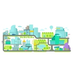 Urban environment banner with houses and roads vector