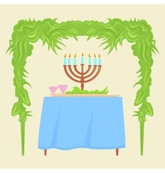 Sukkot festival greeting card design vector