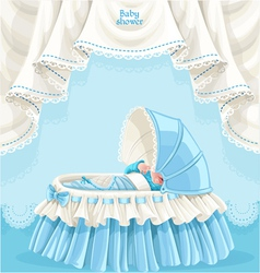 Blue baby shower card with little baby in the crib vector