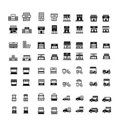 Store and shop icons 64 item vector