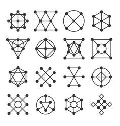 Geometric shape signs set line style logos vector