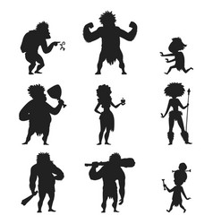 Caveman primitive stone age black silhouette vector