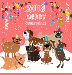 2018 christmas card with dogs party vector image vector image