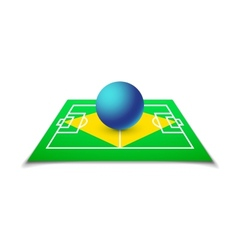 Green soccer field brazil flag vector