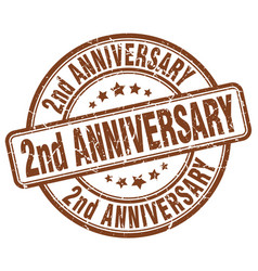 2nd anniversary brown grunge stamp vector image vector image