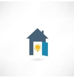 House with a light bulb icon vector