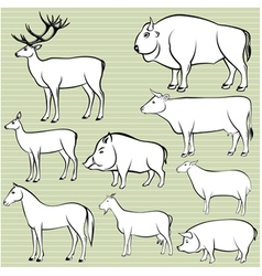 Set of monochrome wild and domestic animals for de vector