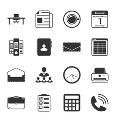 Office black and white flat icons set vector image