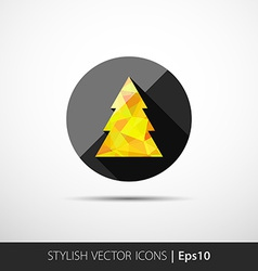 polygon christmas tree icon vector image