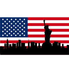 American design with statue of liberty flag vector