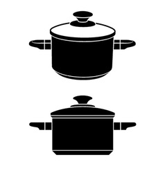3d kitchen pot black symbol vector image