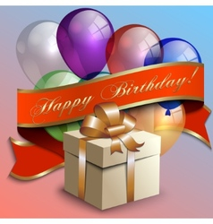 Abstract birthday party card with gift box vector